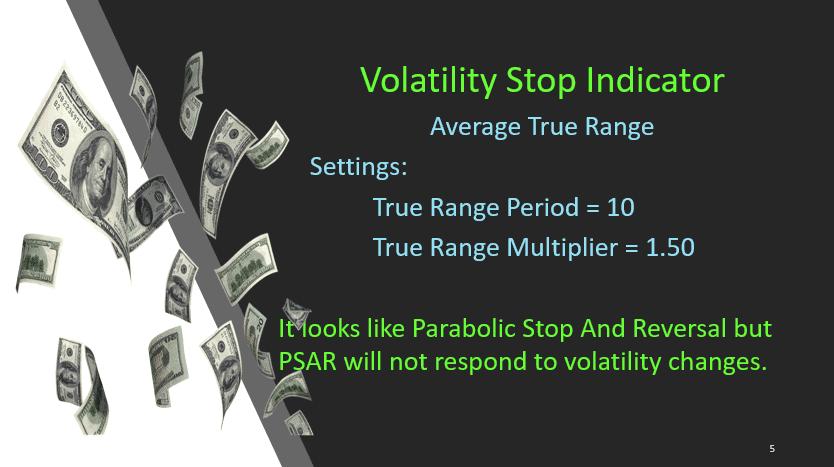Volatility Stop Indicator - Hit & Run Candlesticks